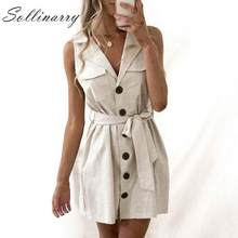 Sollinarry Cotton Linen Solid Short Blazer Dress Vestidos Pocket Casual Bow Button Beach Dresses Vestido New Trendy(China)