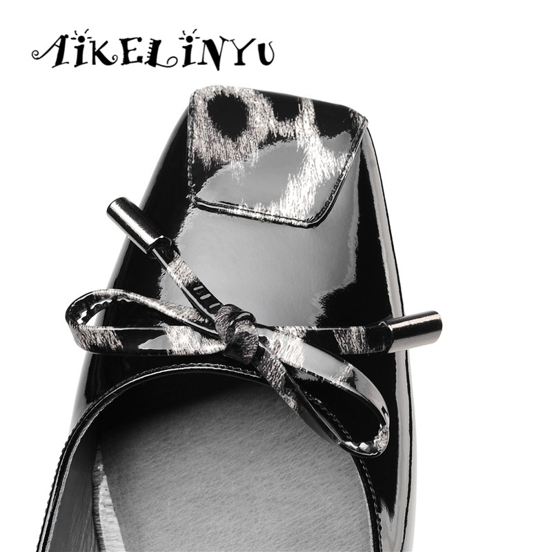 AIKELINYU Spring Square Heels Lotus Root Starch Genuine Leather Bow Office Lady Pumps Leopard Pattern Splicing Party Shoes Women in Women 39 s Pumps from Shoes