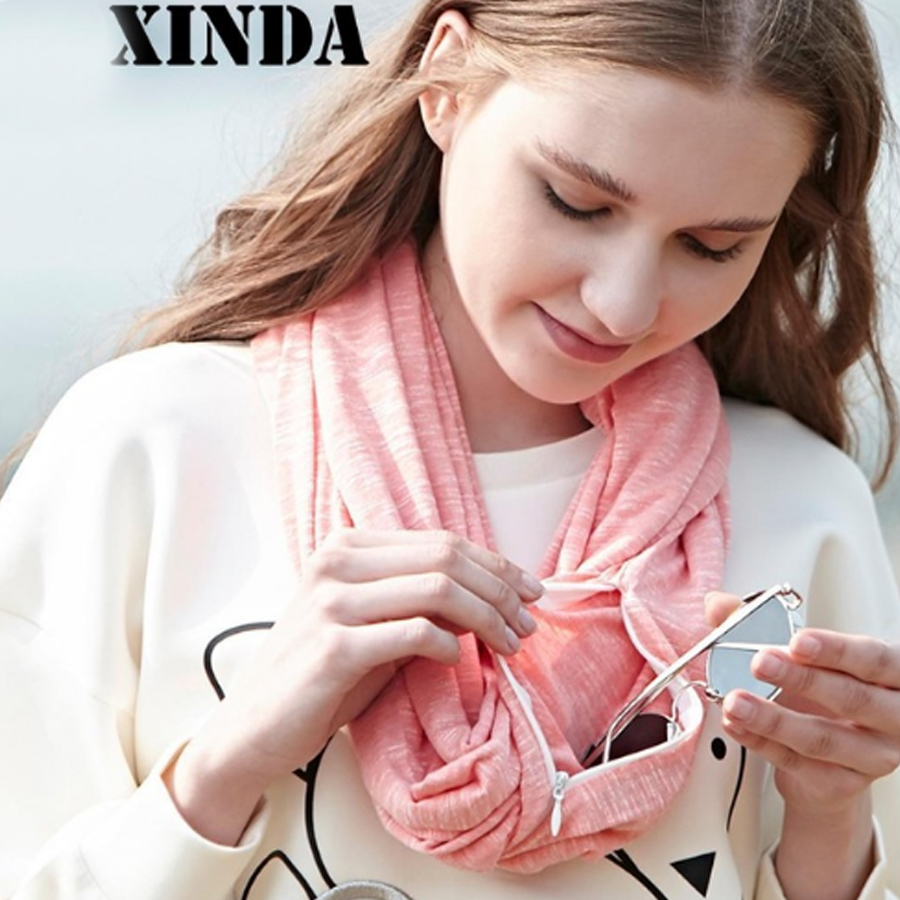 Autumn Winter Warm Infinity Scarf All-match Fashion Women Ring Scarves Solid Soft Pocket Loop Scarf For Female Outdoor Sport