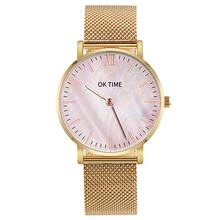 Minimalism Unisex Women Men Wristwatch Alloy Analog Round Shell Dial Mesh Band Quartz Movement Wrist Watch For Birthday Gifts women s fashion silica gel band analog quartz round wrist flower dial watch hot for fashion woman silver gold mesh band g23