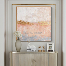 Professional Artist Pure Handmade High Quality Light pink and gold Oil Painting on Canvas Abstract Picture Art