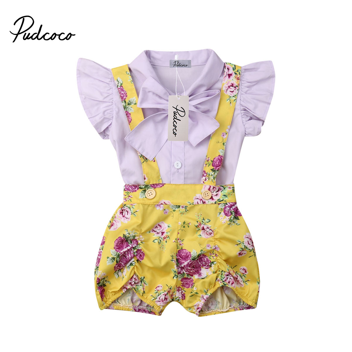 2019 Brand kid Casual Clothing Set Cotton 2Pcs Baby Toddler Girls Kids Overalls Shorts +Bow Fly Sleeve T-shirt Clothes Outfits2019 Brand kid Casual Clothing Set Cotton 2Pcs Baby Toddler Girls Kids Overalls Shorts +Bow Fly Sleeve T-shirt Clothes Outfits