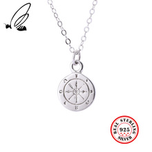 925 Sterling Silver Mini Compass Pendant Necklace 24K Plated Creative Fashionable Elegant Chic Necklace Friendship Fine Jewelry chic style silver plated rhinestone music note pendant necklace for men