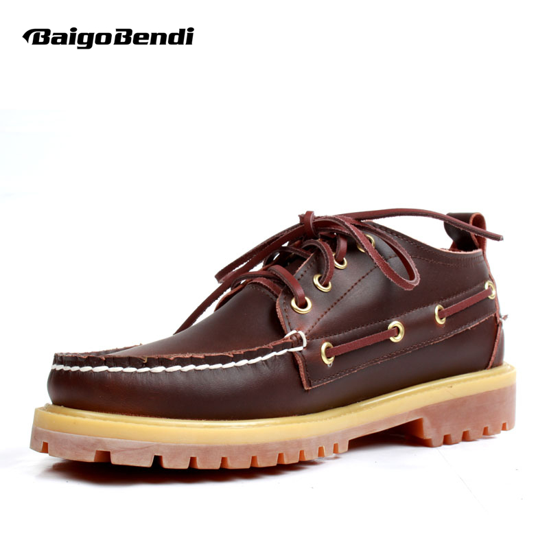 Classical !Plus Size US 11 12 Work Safety Shoes Mens Genuine Leather Lace Up Oxfords Casual Boat Shoes Man Eur Size 45 46