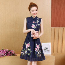 Chinese Style Summer Women Plus Size Fashion Sleeveless Party Dresses Vintage Floral Embroidery Casual Knee-Length Dress Vestido