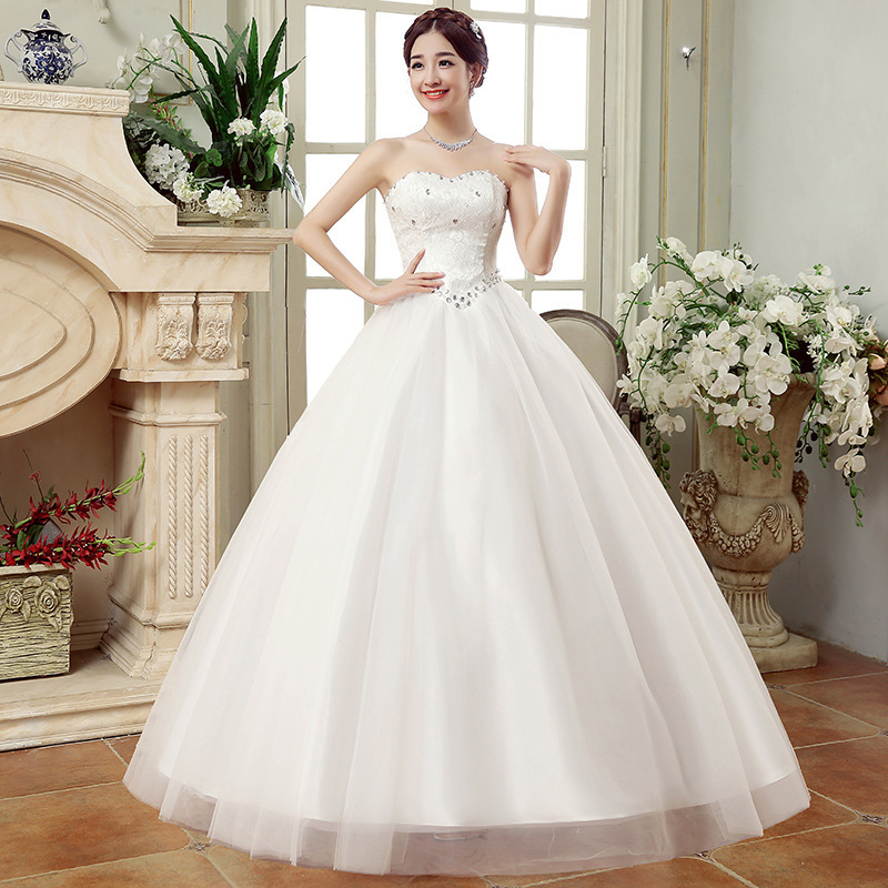 Cheap Wedding Dresses China Elegant White Ball Gown Sweetheart Lace Beaded Backless Wedding Dress 2019 Vestidos De Matrimonio image
