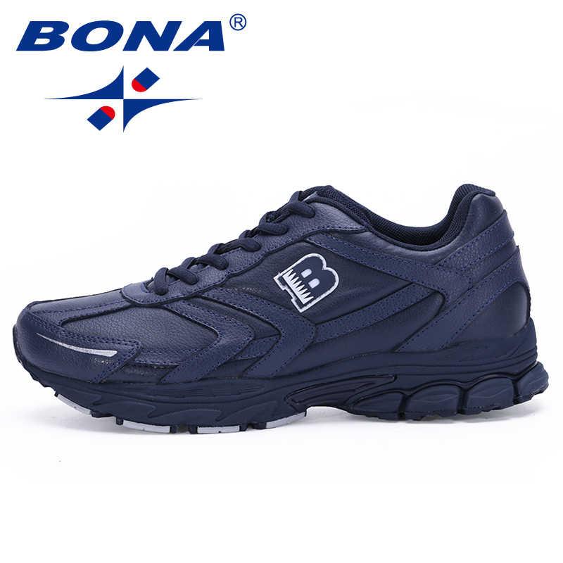 257d9693 Bona Новинка Классические Стильные мужские кроссовки на шнуровке Спортивная обувь  Мужская Уличная бег ходьба спортивная обувь