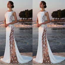 Womens Lace Patchwork Sexy arrival Evening Party Dress Formal Long Dress Bodycon