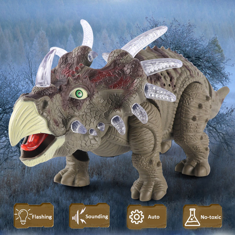 Robotic Pet Electric Animal Toys Alive Dinosaur Triceratops Auto Walking Sounding Simulate Actional Education For Boys Gift 18