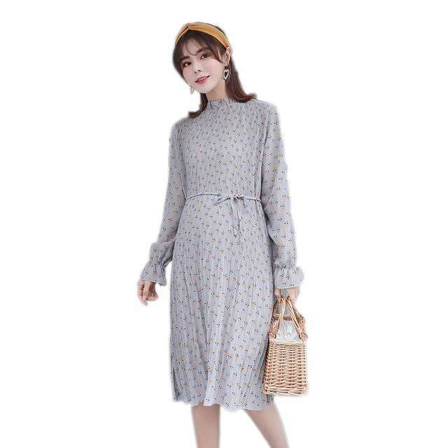 8f79f55effb Pengpious 2019 spring long lantern sleeve maternity fashionable floral  chiffon dress plus size pregnant women printed dress nice