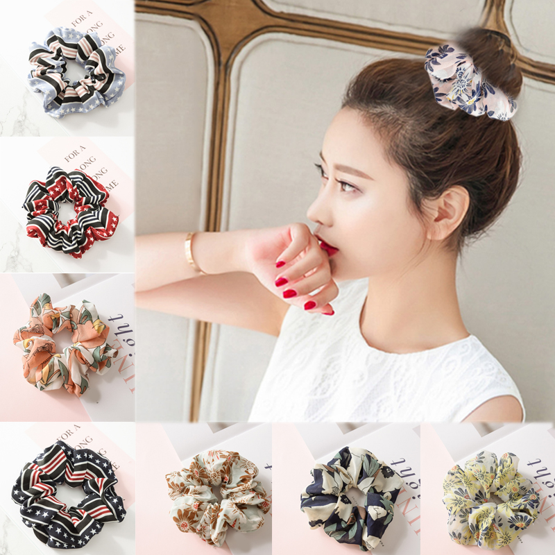 Hair Accessories Hot New  Fashion Hair Rope Gifts Hair Scrunchies Elasticity Ring Tie Hairband Women  Floral Girls 1PC