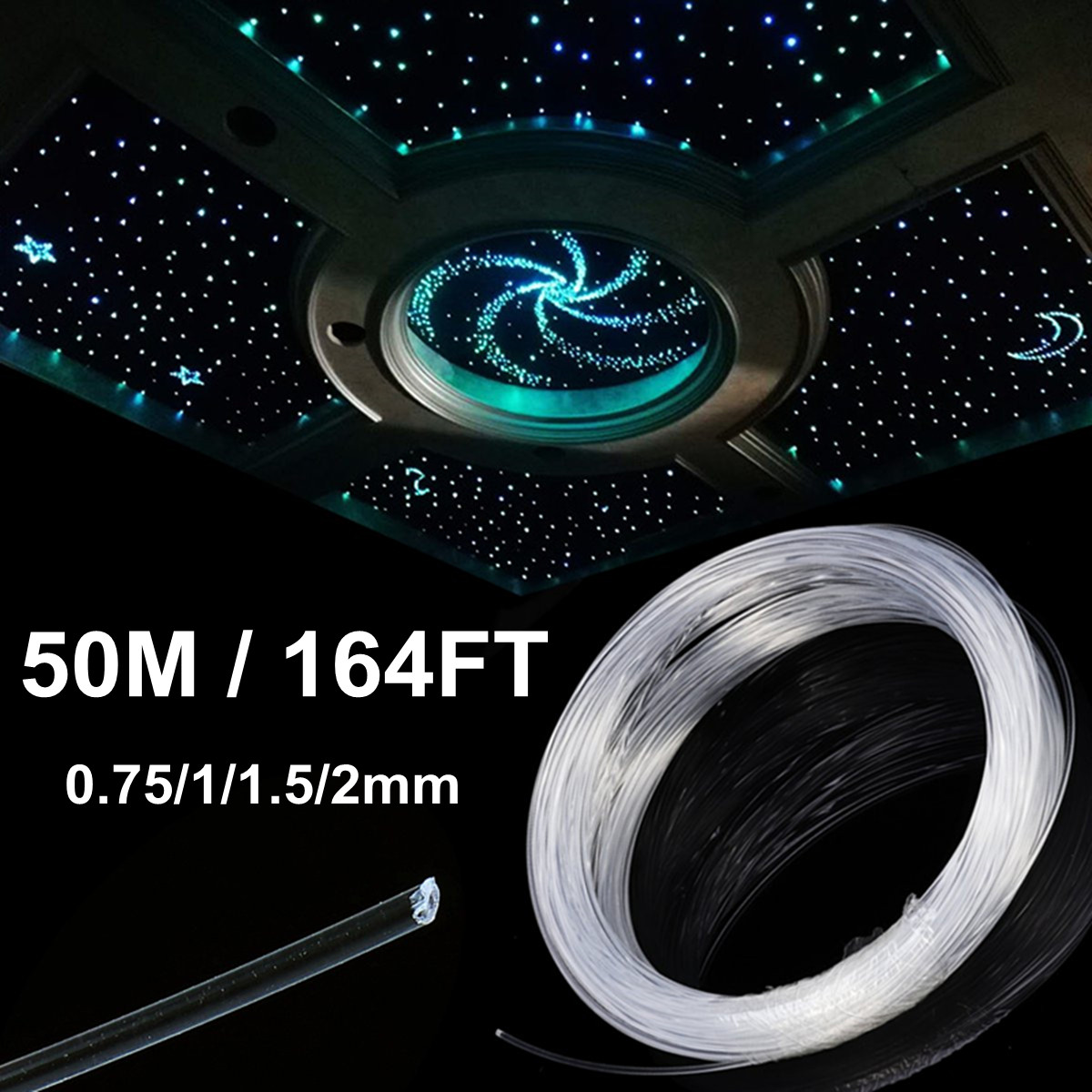 50M PMMA Plastic Clear Optic Fiber Lights Opitcal Cable End Grow Car LED Lighting Decoration Commercial Light 0.75/1.0/1.5/2.0mm