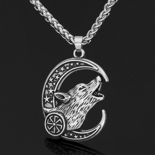 STAINLESS STEEL WOLF ODIN NCEKLACE