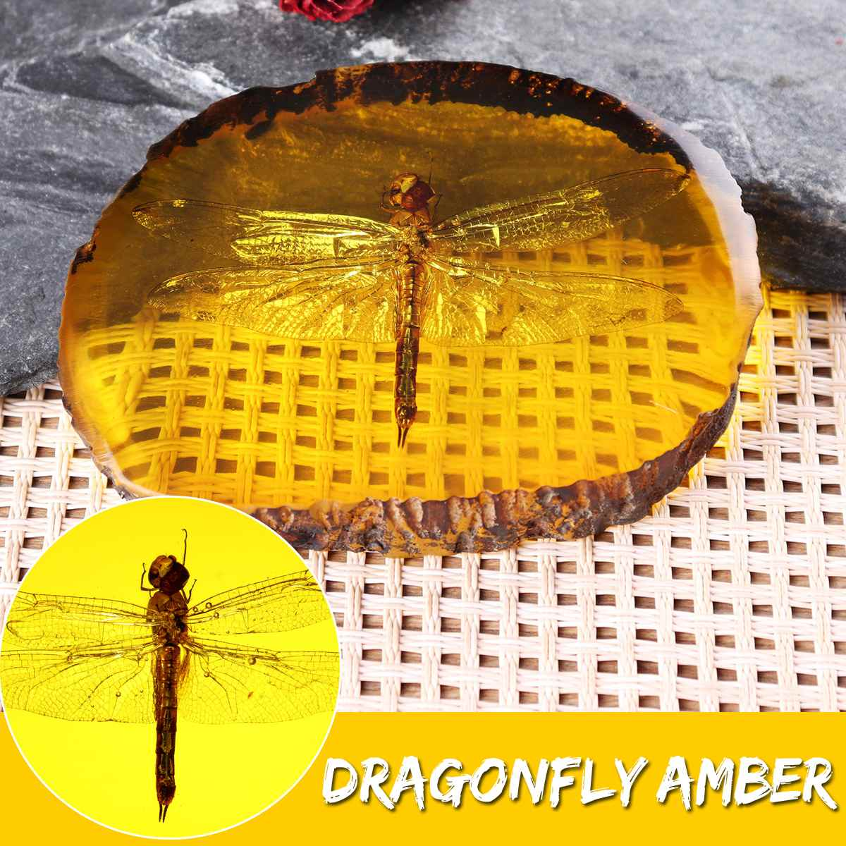 Natural Amber Dragonfly Insect Manual Polishing Decorations DIY Ornament Craft Gift Home Decoration