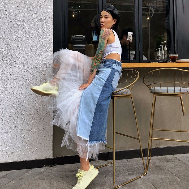 TWOTWINSTYLE Casual Mesh Patchwork Women Skirt High Waist Hit Color Denim Irregular Midi Skirts Female Fashion 2019 Summer New