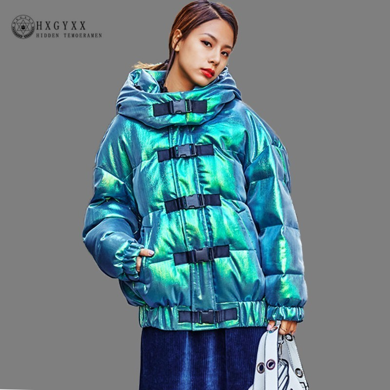 Laser Green Winter Jacket Woman Coat Thick Warm Hooded Cotton Outwear Glossy   Parka   Female Plus Size Casual Snow Wear 2019 Okd651