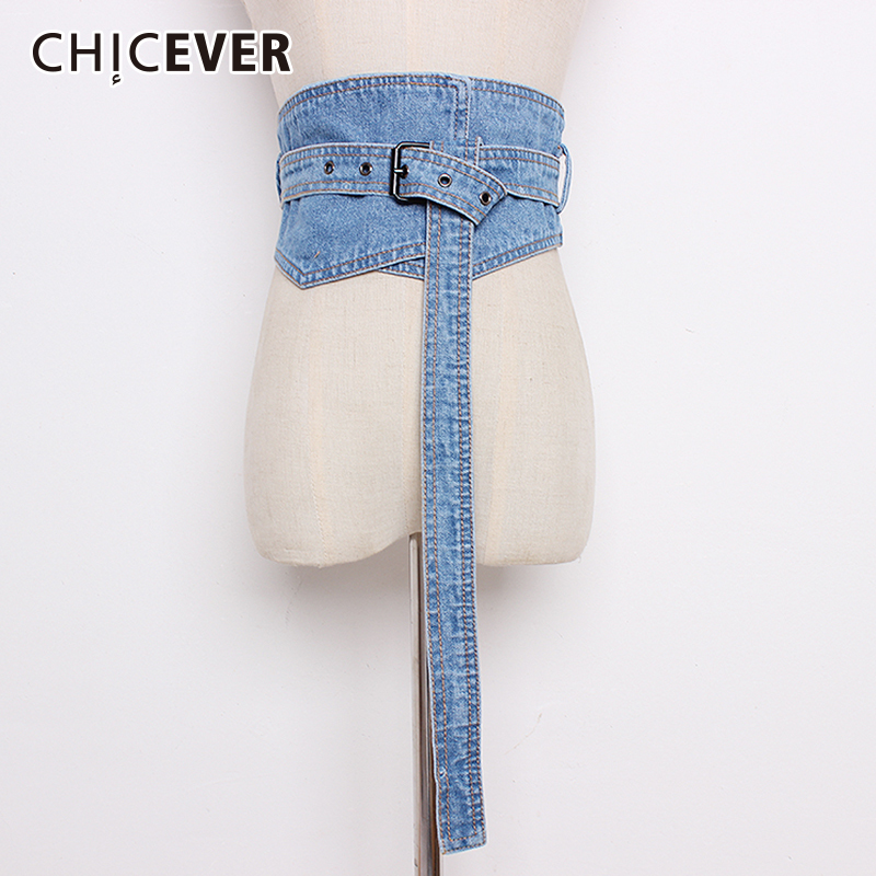 CHICEVER Autumn Fashion Denim Women's Belt Female Bandage High Waist Lady's Belts Corset For Women Accessories Fashion Tide 2020