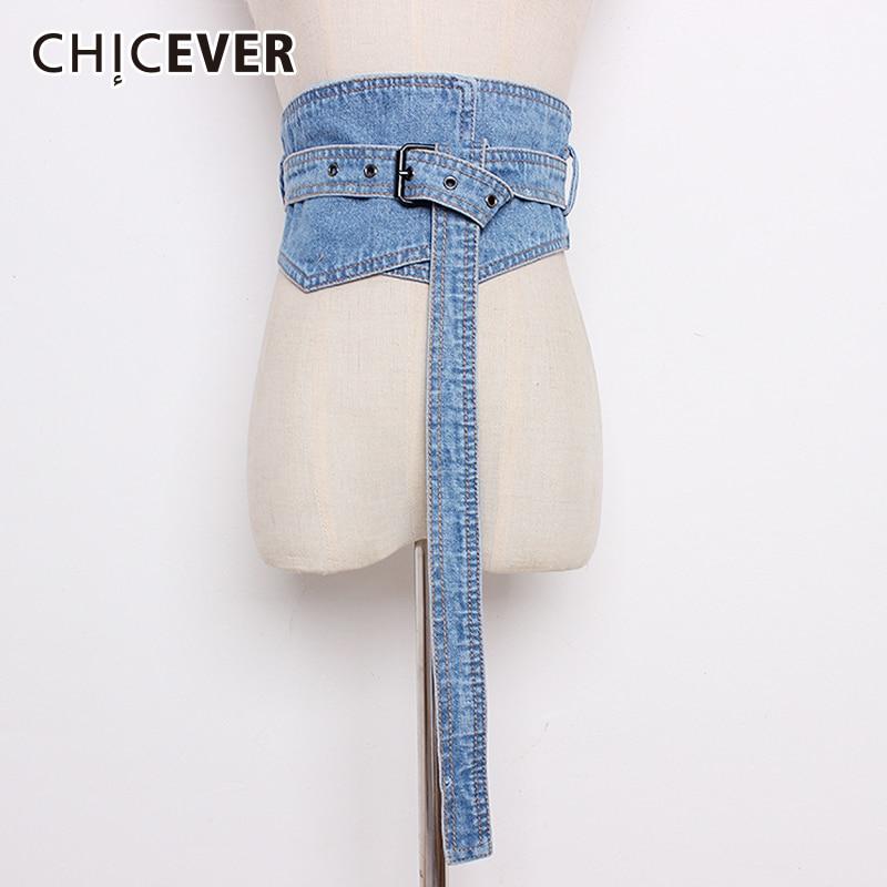CHICEVER Autumn Fashion Denim Women's Belt Female Bandage High Waist Lady's Belts Corset For Women Accessories Fashion Tide 2020