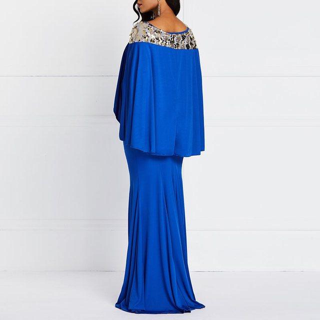Mermaid Bodycon Dress Elegant Evening Women Vintage Cloak Sleeve Party Spring Stylish Robe Print Ruffles Blue Sexy Maxi Dresses