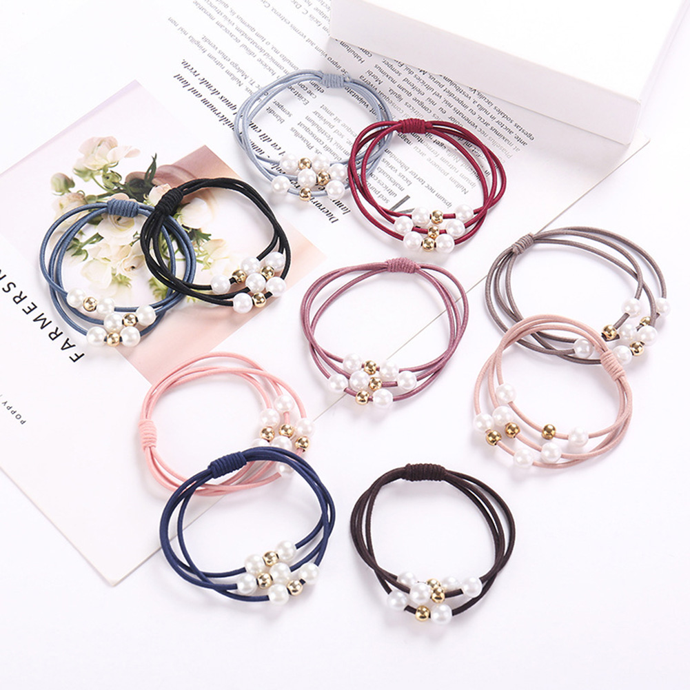Hot Sale Pearl Elastic Rubber Bands   Headwear   Girl Elastic Hair Band Ponytail Holder Rope Hair Jewelry Accessories