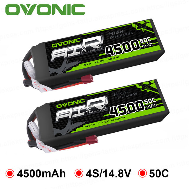 2X Ovonic LiPo Battery 4500mAh 14.8V LiPo 4S 50C-100C Battery Pack T Connector XT60 Plug for 1/8 1/10 RC Car Heli Quadapter 3D