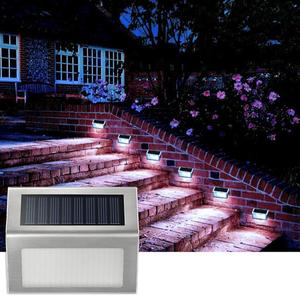Image 3 - 4PCS Stainless Steel 3LED Solar Wall Lamp Outdoor Waterproof Solar Power Garden Fence Light Courtyard Pathway Fence Wall Light