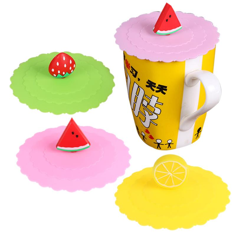 Cartoon Fruit Cups Lid Dustproof Reuseable Silicone Magic Cover Leakproof Airtight Sealed Cover for Tea Coffee Cups