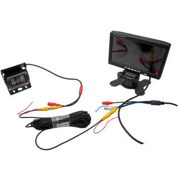 "12V/24V Car Reversing Camera RCA + 7"" LCD Monitor Truck Bus Van Rear View Kit + 10M Cable"