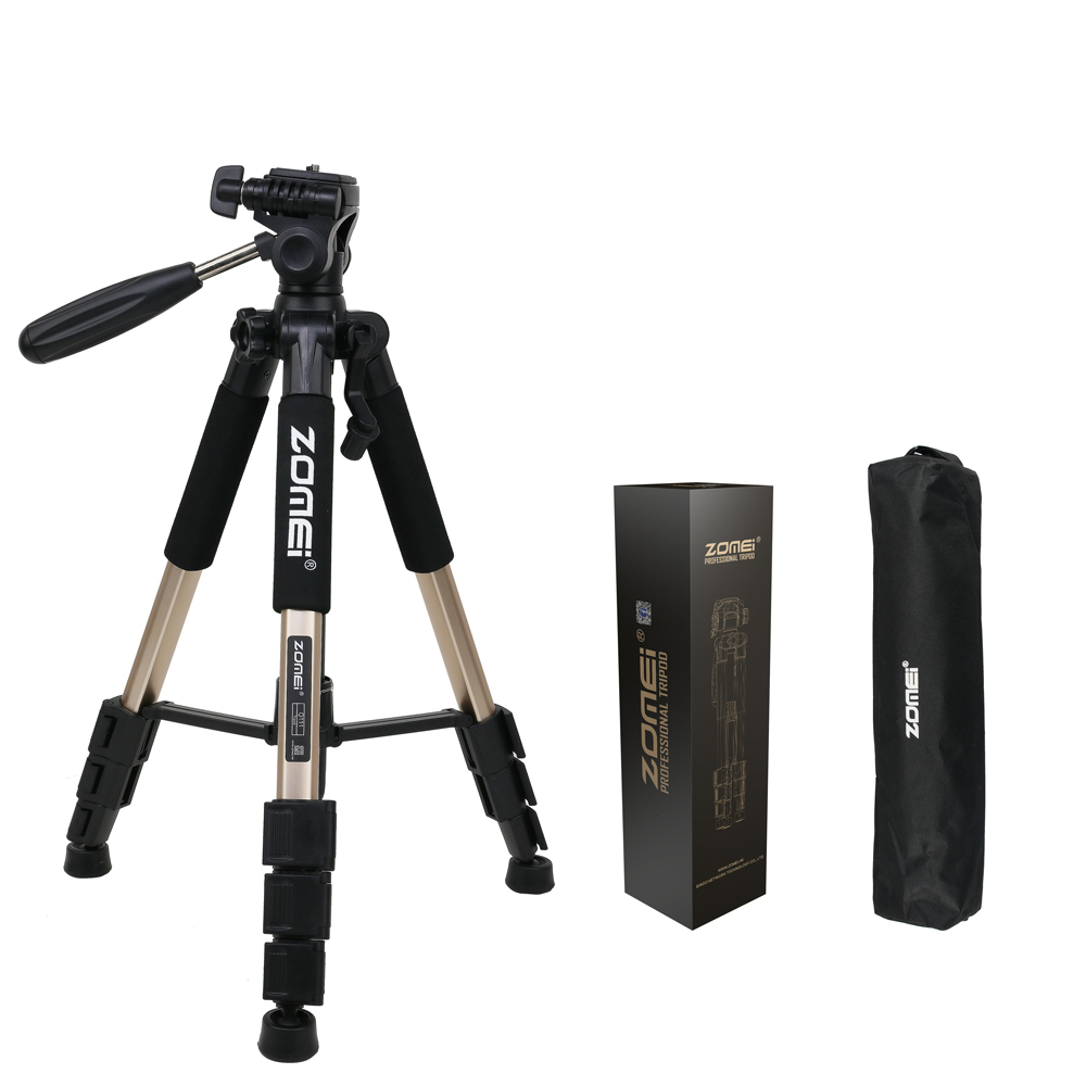 Zomei Q111 Professional Camera Tripod Video Camera Stand 56 Inches Lightweight Flexible Aluminum Tripods With Bag
