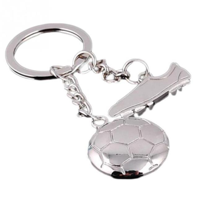 Creative מזכרות נירוסטה כדורגל נעל Keychain Sneaker מפתח שרשרת מיני חמוד Keyring טבעות כדור מפתח בעל