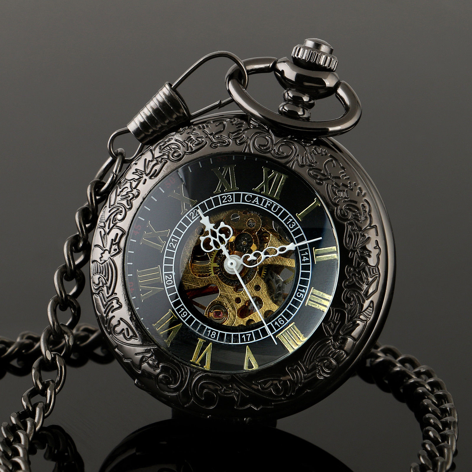 CAIFU Brand New Arrival See Through Black Case Roman Number Black Dial Mens Hand Wind Mechanical Pocket Watch W/Chain Nice Gift