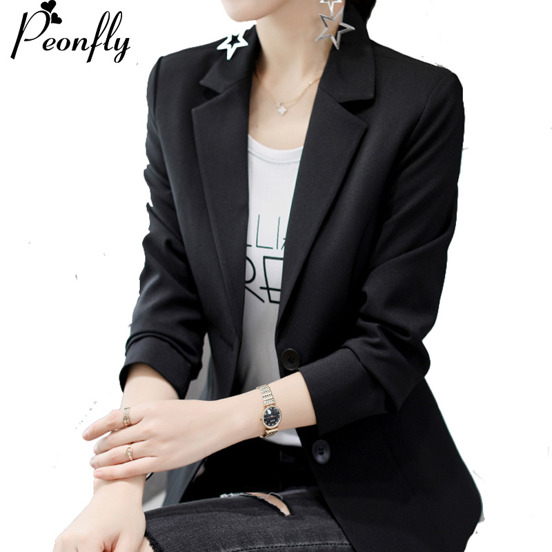 PEONFLY White Black Women Blazers And Jackets New  Autumn Fashion Double Button Blazer Femenino Ladies Blazer Female