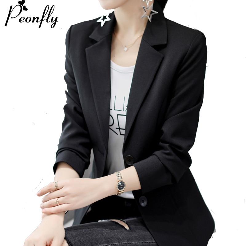 PEONFLY White Black Women Blazers And Jackets New  Autumn Fashion Double Button Blazer Femenino Ladies Blazer Female