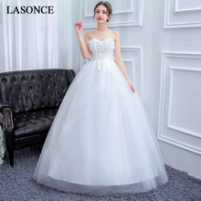 LASONCE Crystal Flowers Strapless Ball Gown Wedding Dresses Off The Shoulder Lace Appliques Backless Bridal Dress