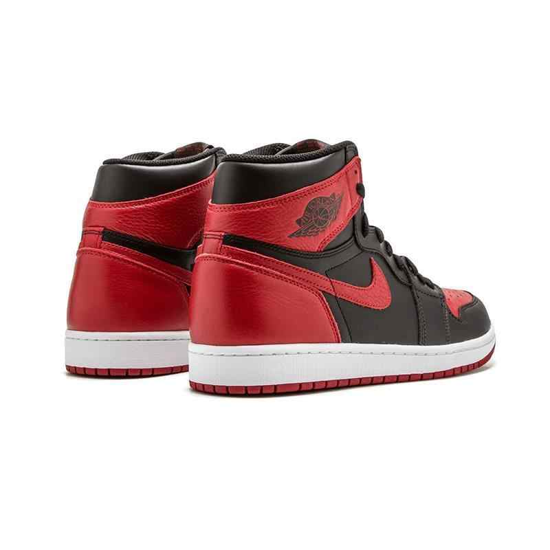 best website a014f 55a5e Nike Air Jordan 1 Retro High OG AJ1 Black And Red Original Breathable Men's  Basketball Shoes Sports Sneakers #555088-001