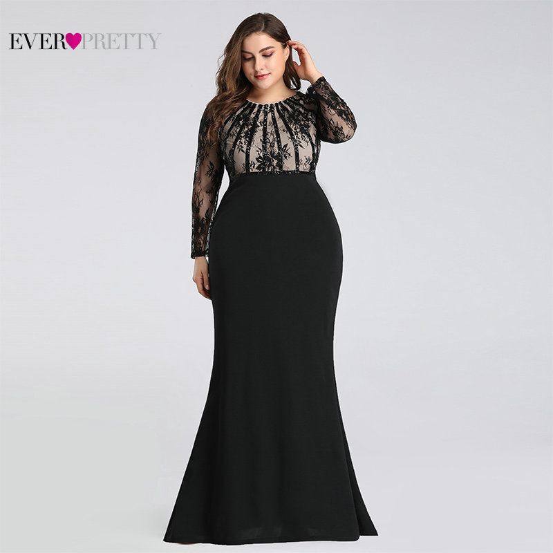 Black Mermaid   Evening     Dresses   Long Plus Size Ever Pretty Elegant O Neck Long Sleeve Appliques Lace Long Formal Party Gowns 2019