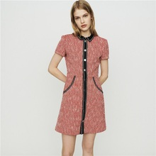Brand High Quality Turn down Knit Patchwork Women Dress Elegant  Red Short A line Fashion Mini Dress 2020 Summer New Clothes