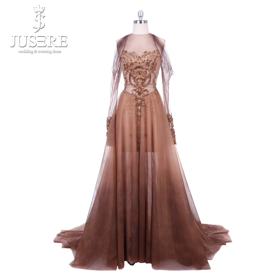 Jusere Fashion Middle East  Coffee A-Line Tulle Appliqued Lace Long Sleeve Embroidered Prom Dresses Floor-Length Evening Gown