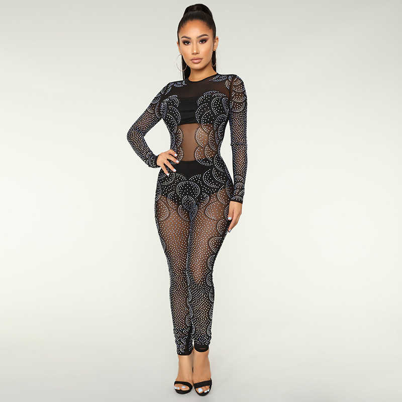 VITIANA Women Sexy Jumpsuit 2019 Summer Spring Diamond Shine Mesh Perspective Transparent Womens Jumpsuits Female Party Clubwear