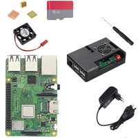 Hot TOD Eu Plug Raspberry Pi 3 Model B Plus With Wifi And Bluetooth+Abs Case+Cpu Fan+3A Power With On/Off Switch+Heatsink Pi 3