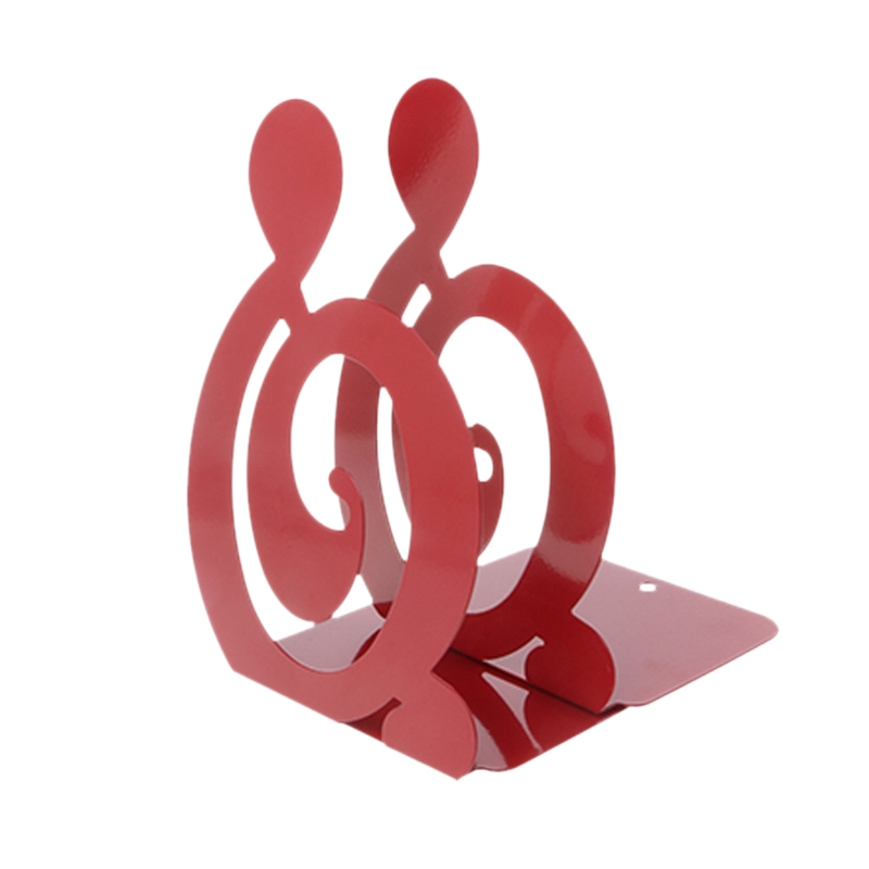 Musical Note Metal Bookends Iron Support Holder Desk Stands For Books