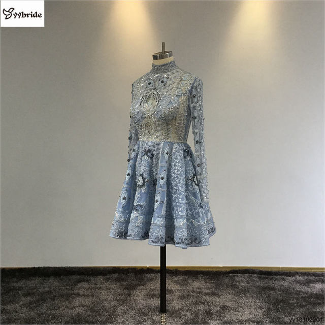 Surmount Customized Mini dress A-line Long Sleeves Mini Short Party Dress High Neck Vintage Beading Crystals Celebrity Dresses 1