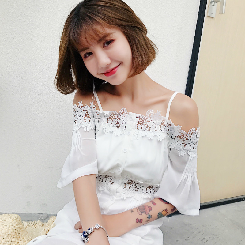Sweet Spaghetti Strap Shoulder Lace Split Joint Hollow Loose Mid calf Dress Women 2019 Summer Long Chiffon Floral White Dress in Dresses from Women 39 s Clothing