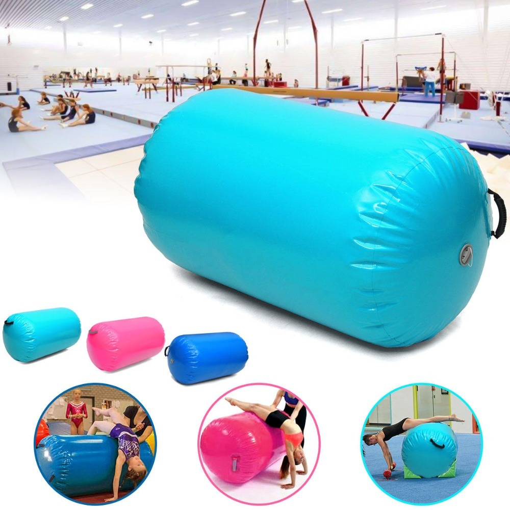 Inflatable Christmas 100x85cm Inflatable Gymnastics Mat Air Rolls Training Roller Beam Cylinder <font><b>120x60</b></font>/80cm For Sale With Pump image
