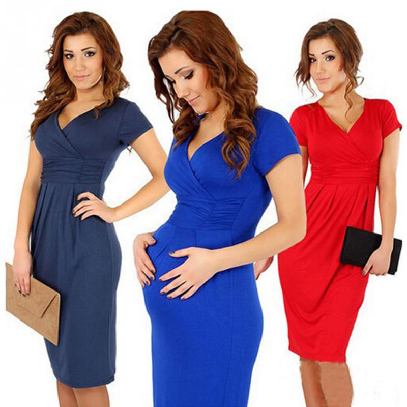 Women sexy package hip V collar stretch dress beauti mommy pregnant woman expectant mother slim dress solid color Vestidos