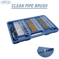 38Pcs Tube Brush Inner Wall Cleaning Brush Replaceable Brush Head Handle Tool Engine Wire Brush Cleaning Kit