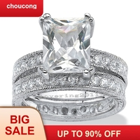choucong Antique Princess cut 5ct Stone 5A Zircon stone 14KT White Gold Filled Engagement Wedding Band Ring Set Sz 5 11