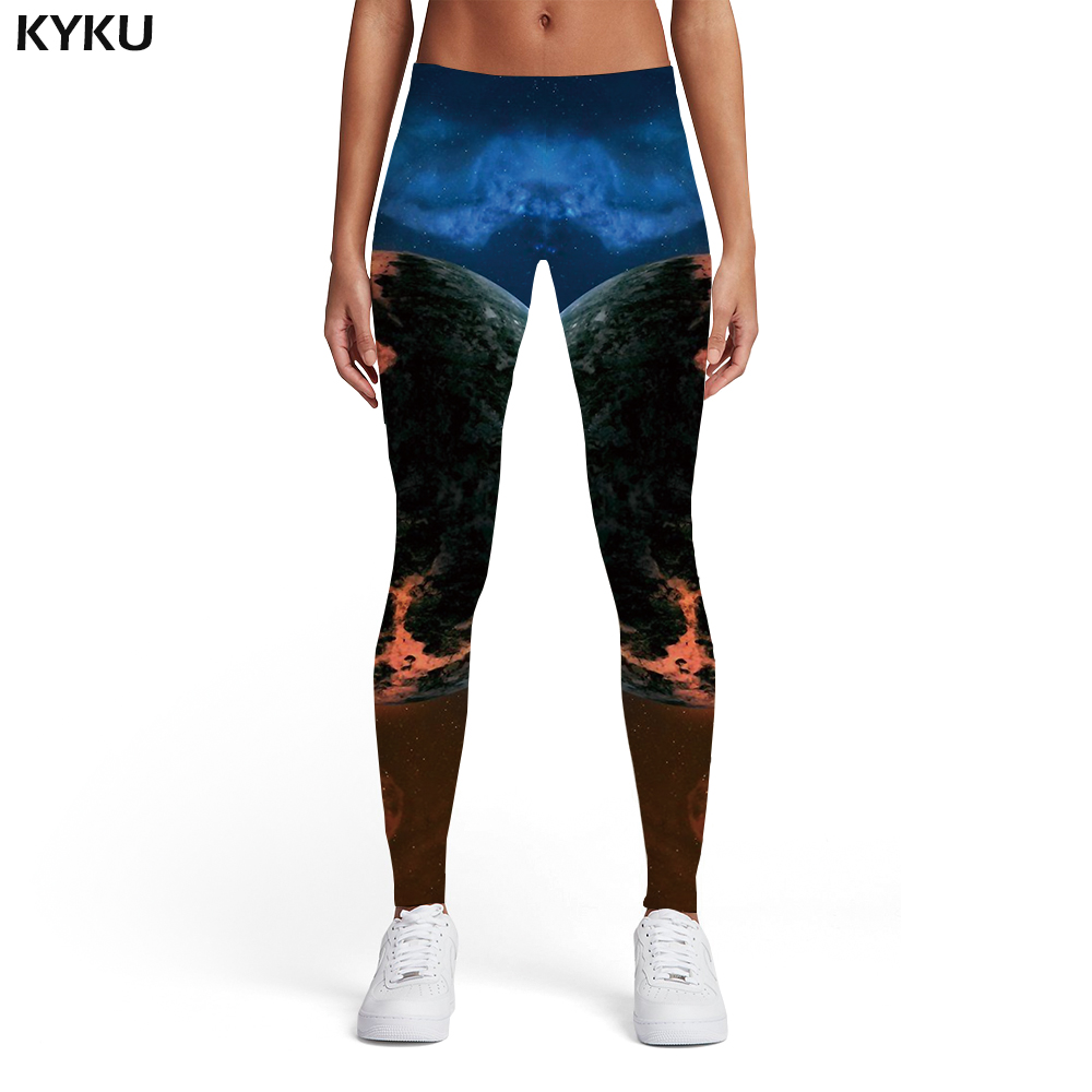KYKU Brand Galaxy Leggings Women Space Elastic Cloud 3d Print Colorful Trousers Blue Leggins Womens Leggings Pants Jeggings