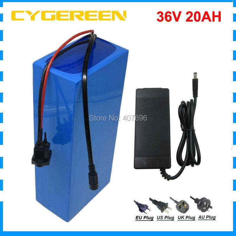 Free customs fee 36V 20AH Ebike battery 1000W 36 V 20AH lithium battery use 3.7V 2200mah 18650 cell 30A BMS 42V 2A Charger