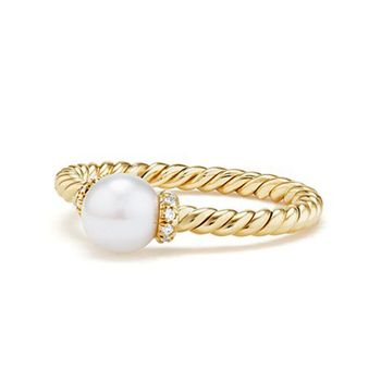 Huitan 2018 Hot Selling Solitaire Ring with Created White Pearl Tension Setting Fashion Cocktail Party Rings for Women Size 6-10